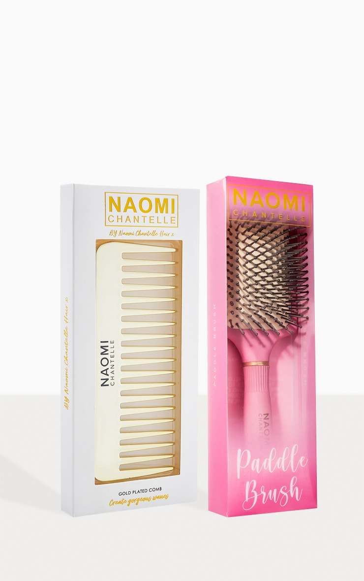 Naomi Chantelle Exclusive Gold Plated Comb and Paddle Brush (Worth £20.00) 1
