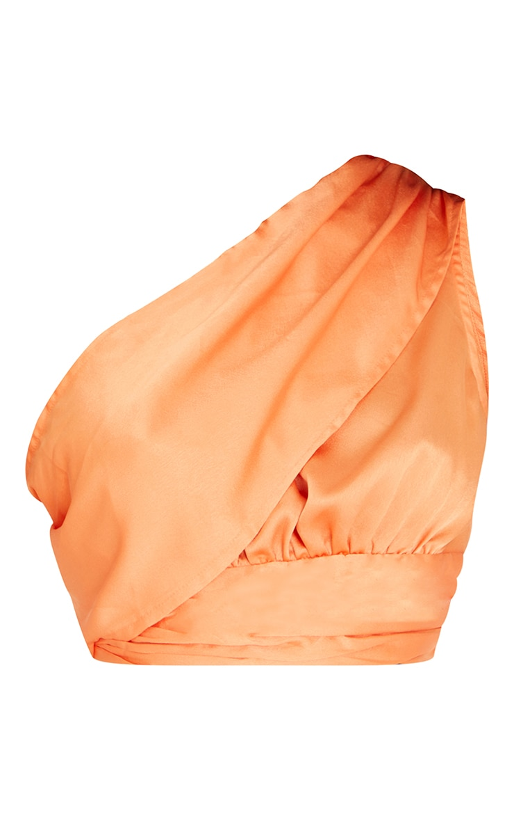 Tall Peach Satin One Shoulder Blouse 5