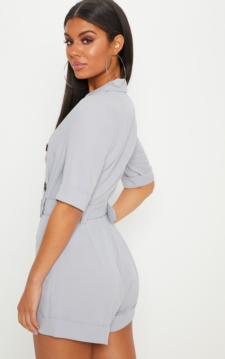 Ice Grey Brushed Satin Tortoiseshell Button Playsuit 2