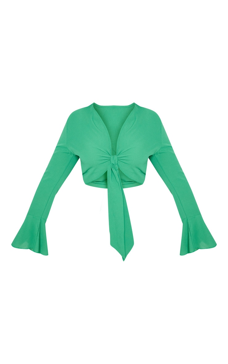 Plus Green Tie Front Frill Sleeve Blouse 3
