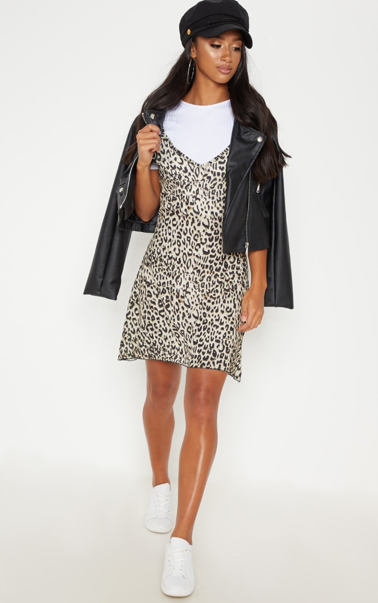 Petite Brown Leopard Print Swing Dress 4