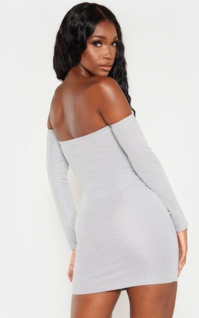 Silver Bardot Shimmer Bodycon Dress
