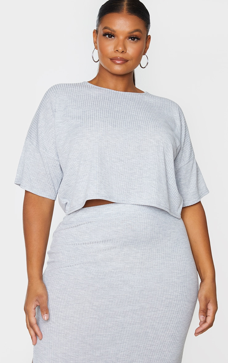 Plus Grey Soft Rib Oversized Crop T Shirt 1