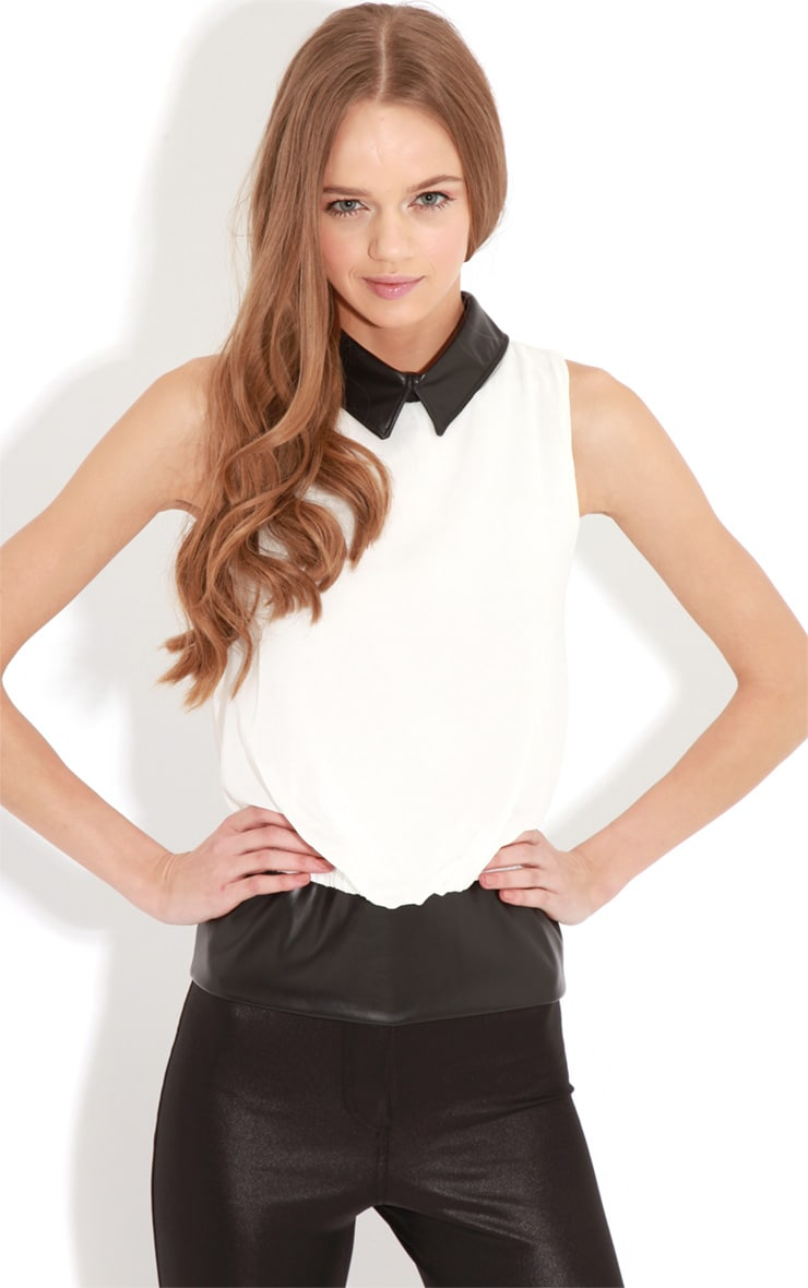 Eden White Chiffon Blouse With Faux Leather Collar 5