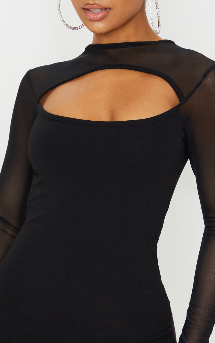 Black Mesh Bodice Cut Out Long Sleeve Bodycon Dress 5