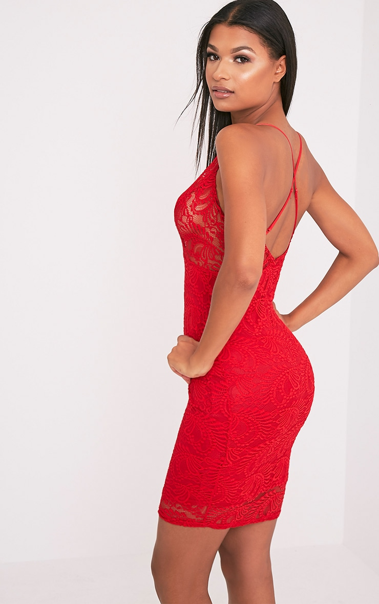 Lucila Red Sheer Lace Bodycon Dress 5