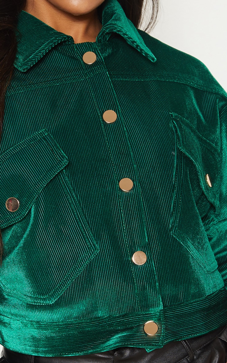 Emerald Green Cropped Cord Oversized Trucker Jacket  5