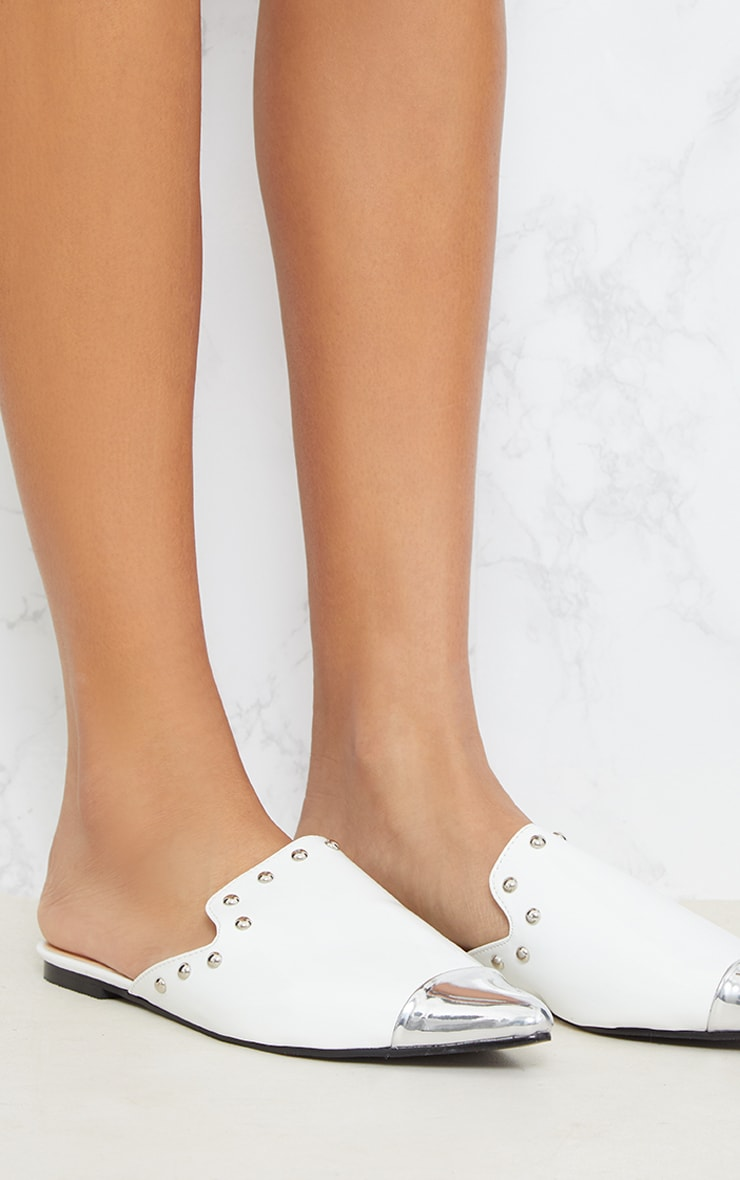White Studded Point Metal Toe Mule 5