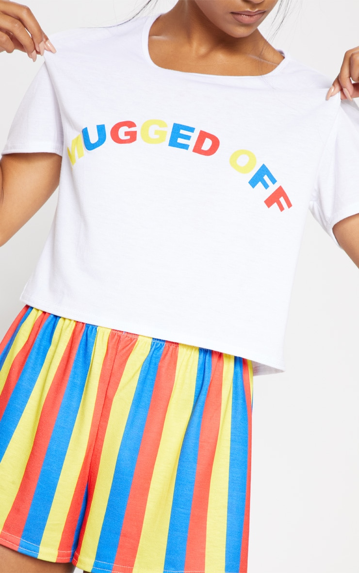 White Mugged Off Rainbow Stripe Short PJ Set 5