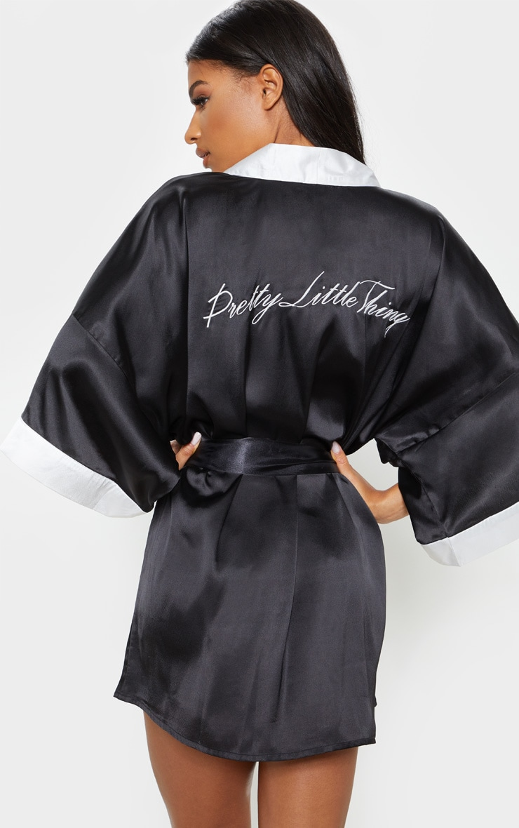 PRETTYLITTLETHING Black Satin Robe 1