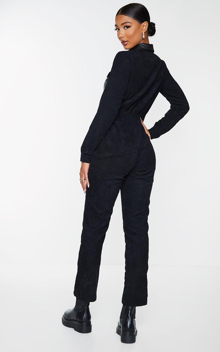 Black PU Pocket Detail Button Cord Jumpsuit 2