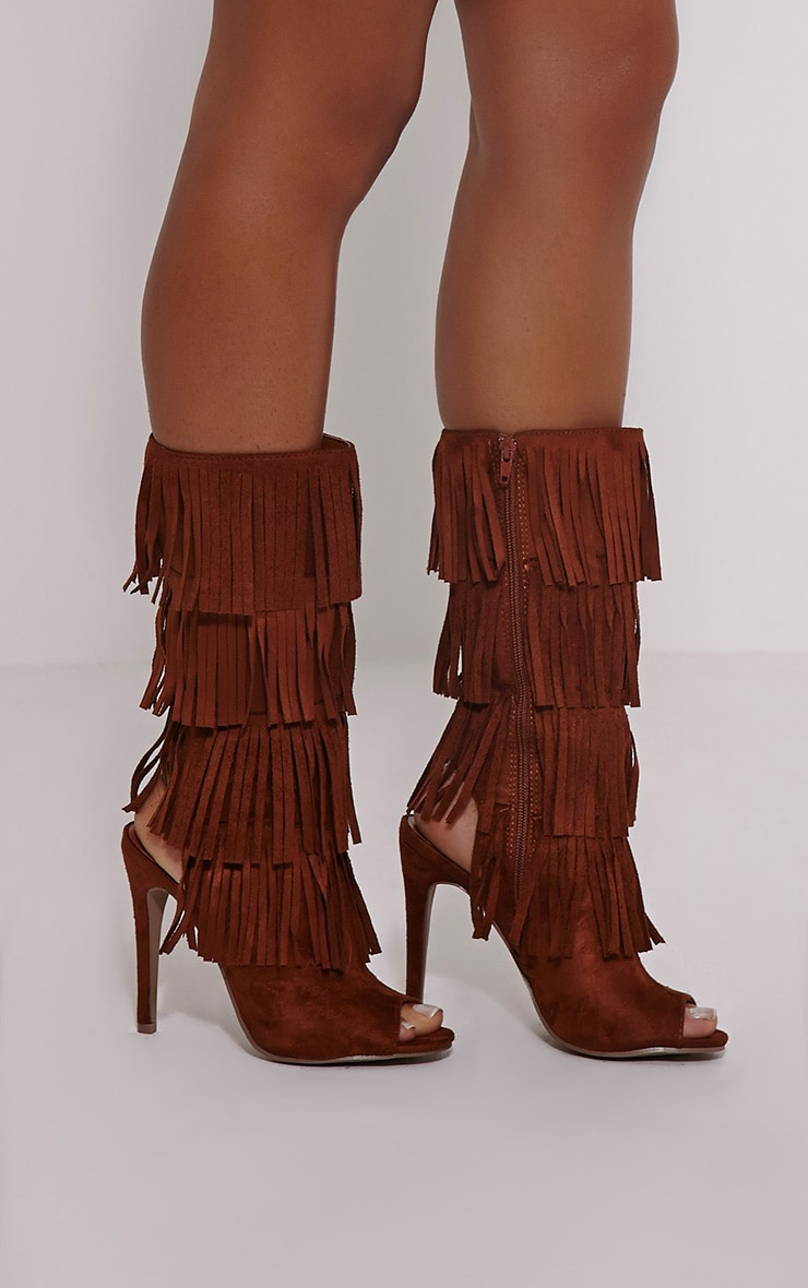 Zohey Tan Fringe Cut Out Boots 1