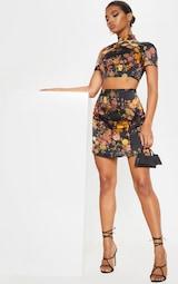 Black Print Satin A Line Skirt 5