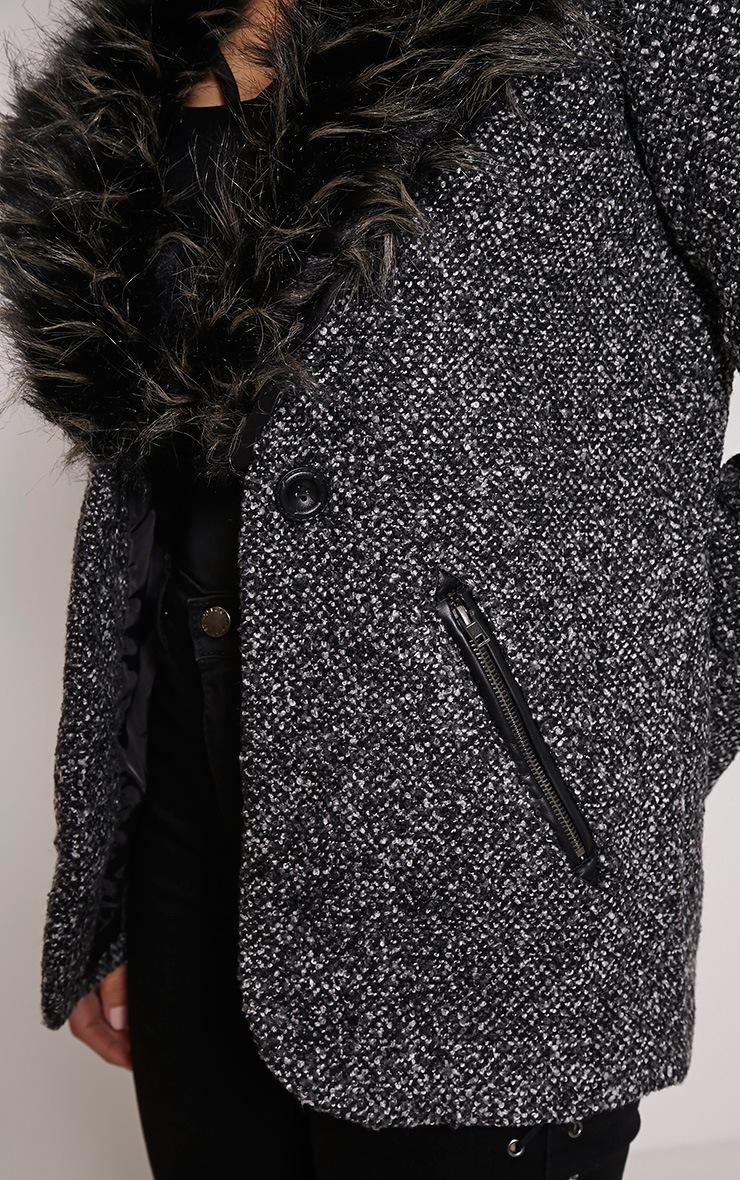 Britney Grey Detachable Faux Fur Collar Jacket 4