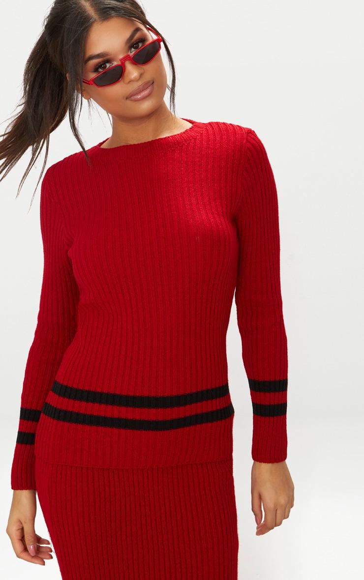 Red Sports Stripe Rib Jumper