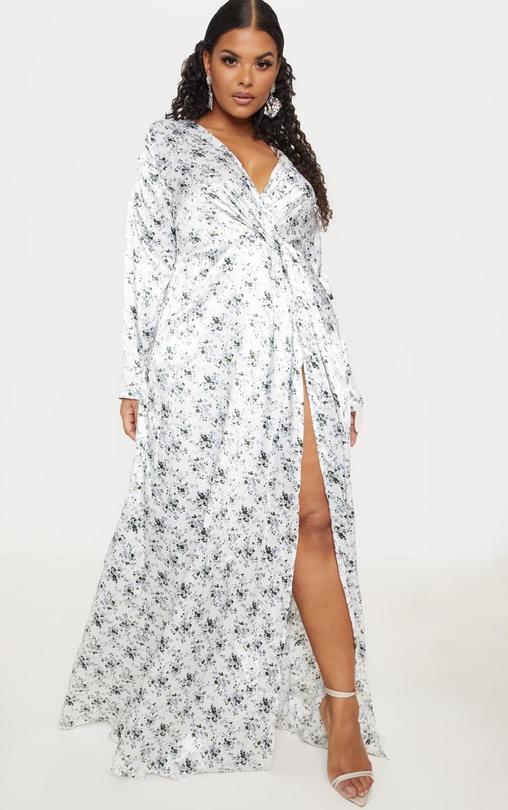 Plus White Floral Print Twist Front Maxi Dress 1