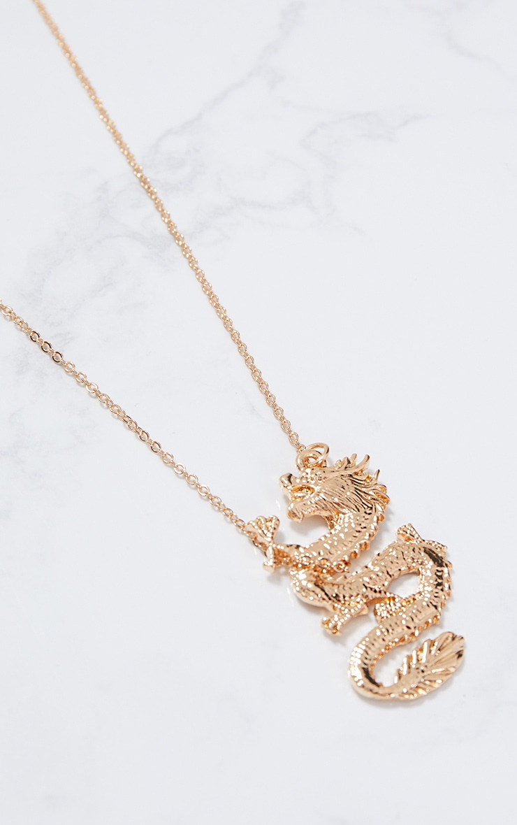 Gold Dragon Pendant Necklace 2