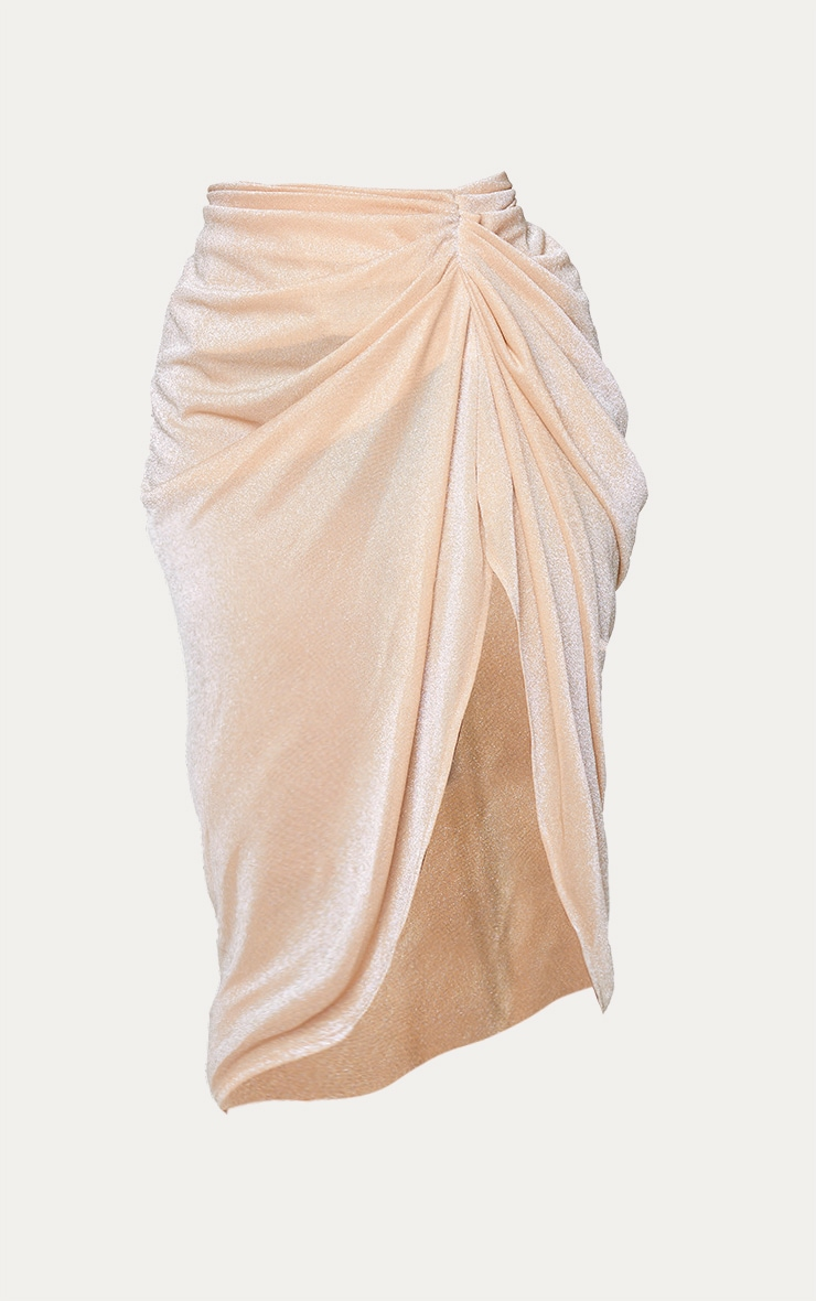 Plus Champagne Glitter Ruched Side Midi Skirt 5