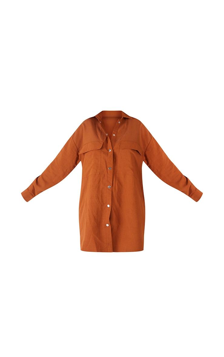 Chocolate Cargo Oversized Popper Front Shirt Dress 6