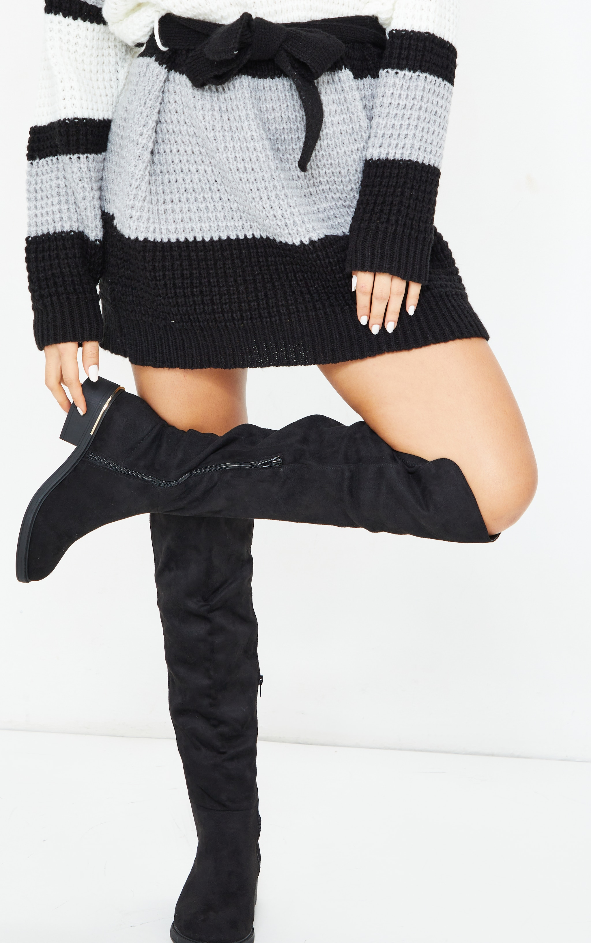 Black Wide Fit Faux Suede Knee High Boots 2