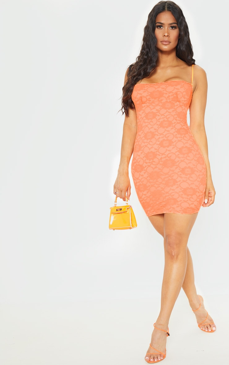 Orange Lace Cup Detail Strappy Bodycon Dress 4