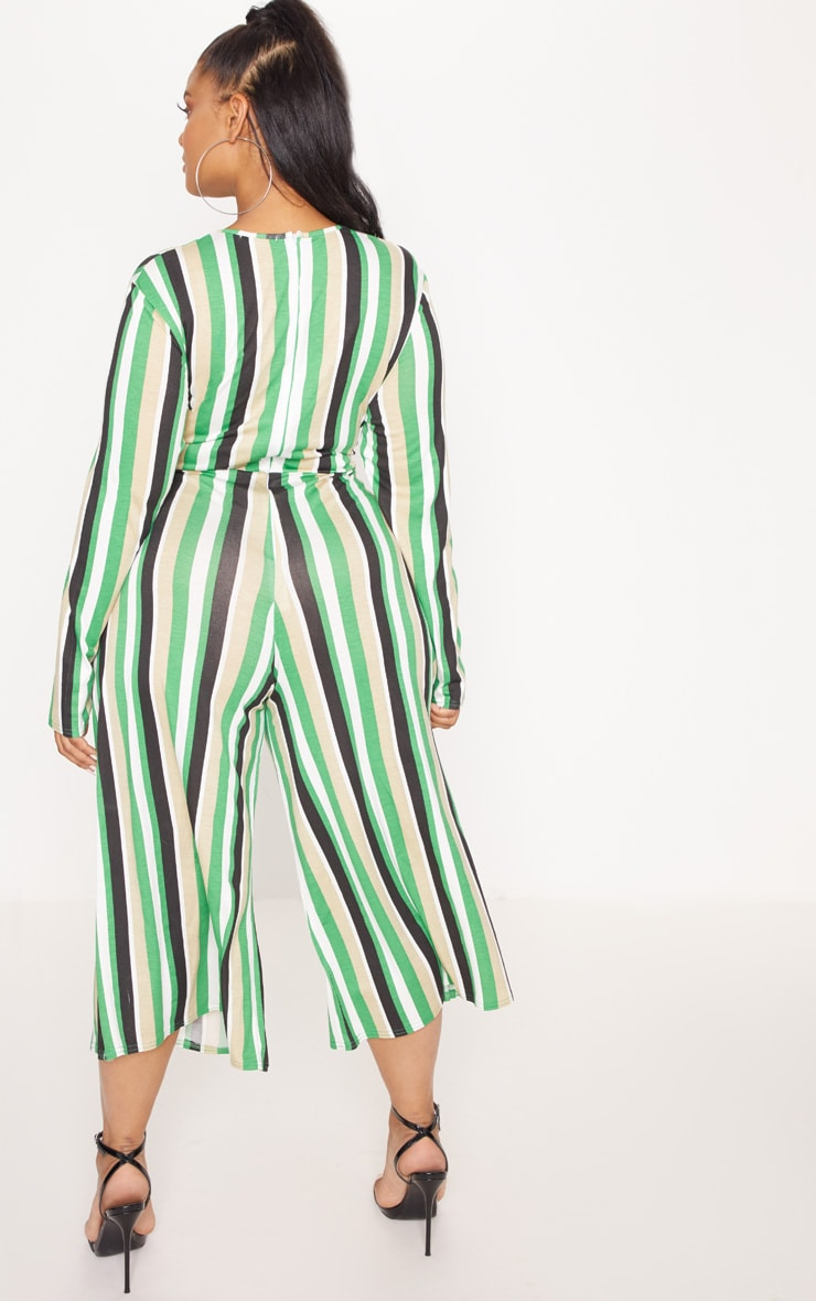 Plus Green Twist Front Stripe Culotte Jumpsuit 2