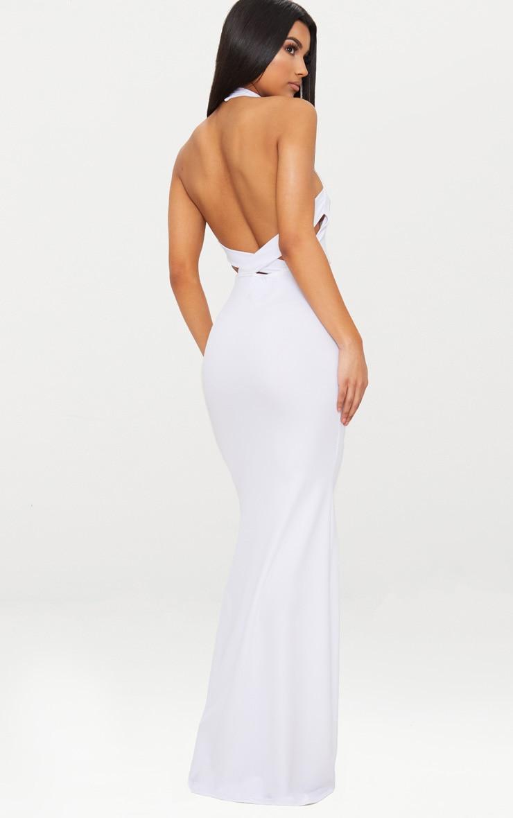 White Cross Back High Neck Maxi Dress 2