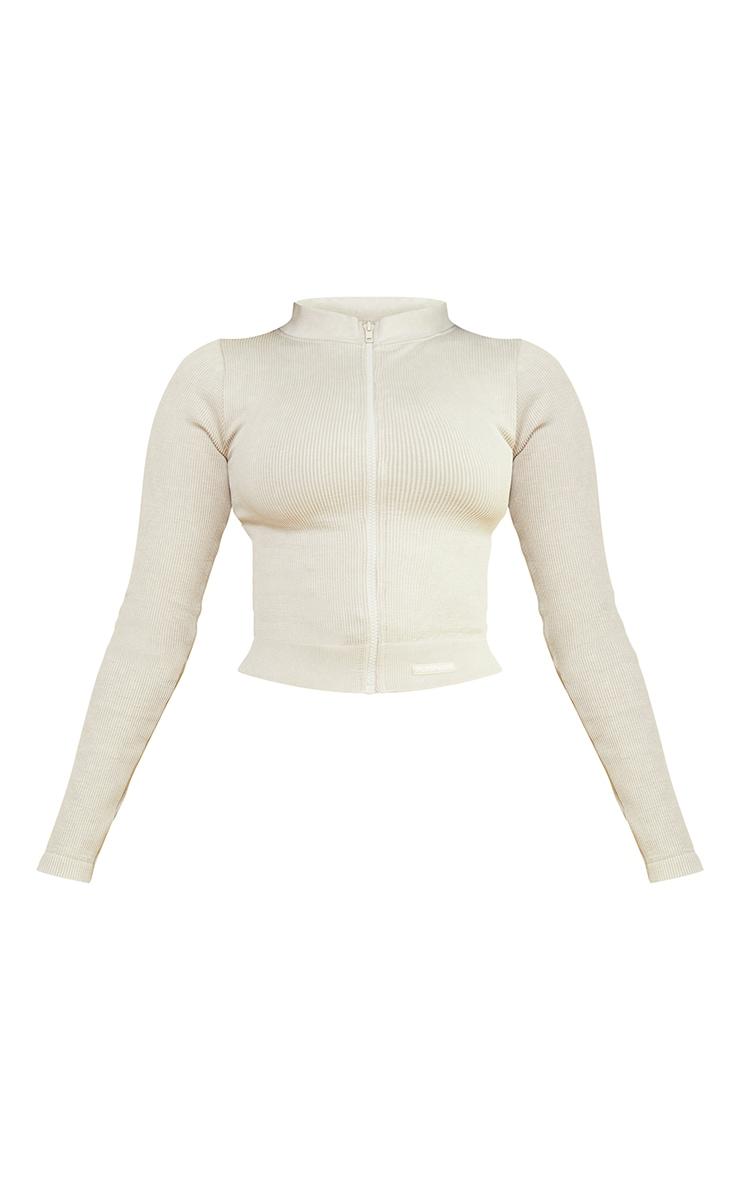 Oatmeal Acid Wash Seamless Ribbed Zip Up Cropped Sports Jacket 5