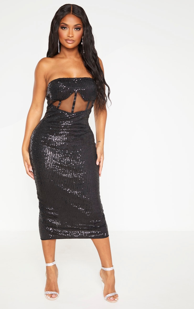 Shape Black Sequin Mesh Corset Detail Midi Dress 1