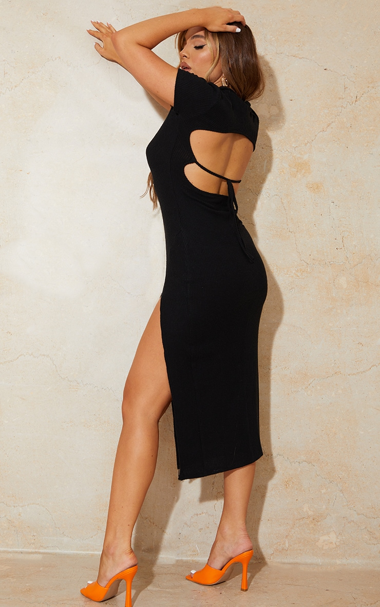 Black Short Sleeve Brushed Rib Open Back Detail Midaxi Dress 1