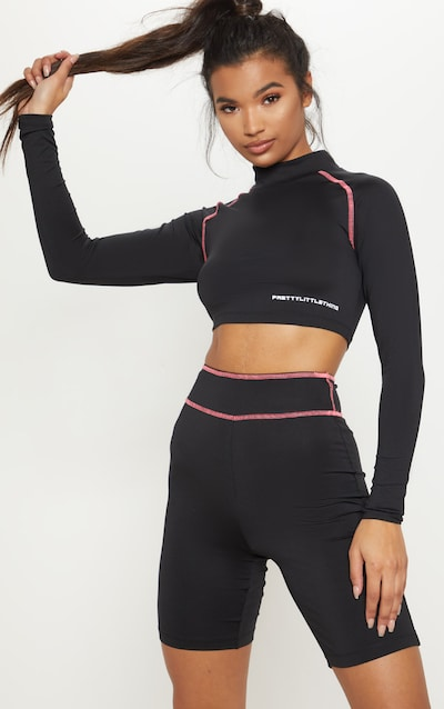 PRETTYLITTLETHING Long Sleeve Black Zip Back Gym Top