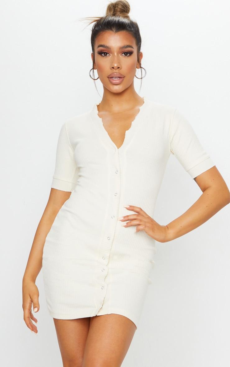 Cream Thick Rib Popper Frill Edge Bodycon Dress 1