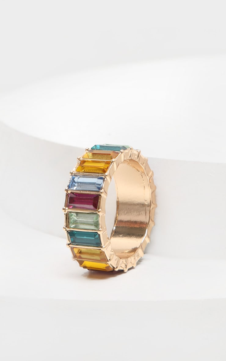 Multi Jewel Colored Entreaty Band Style Ring 2