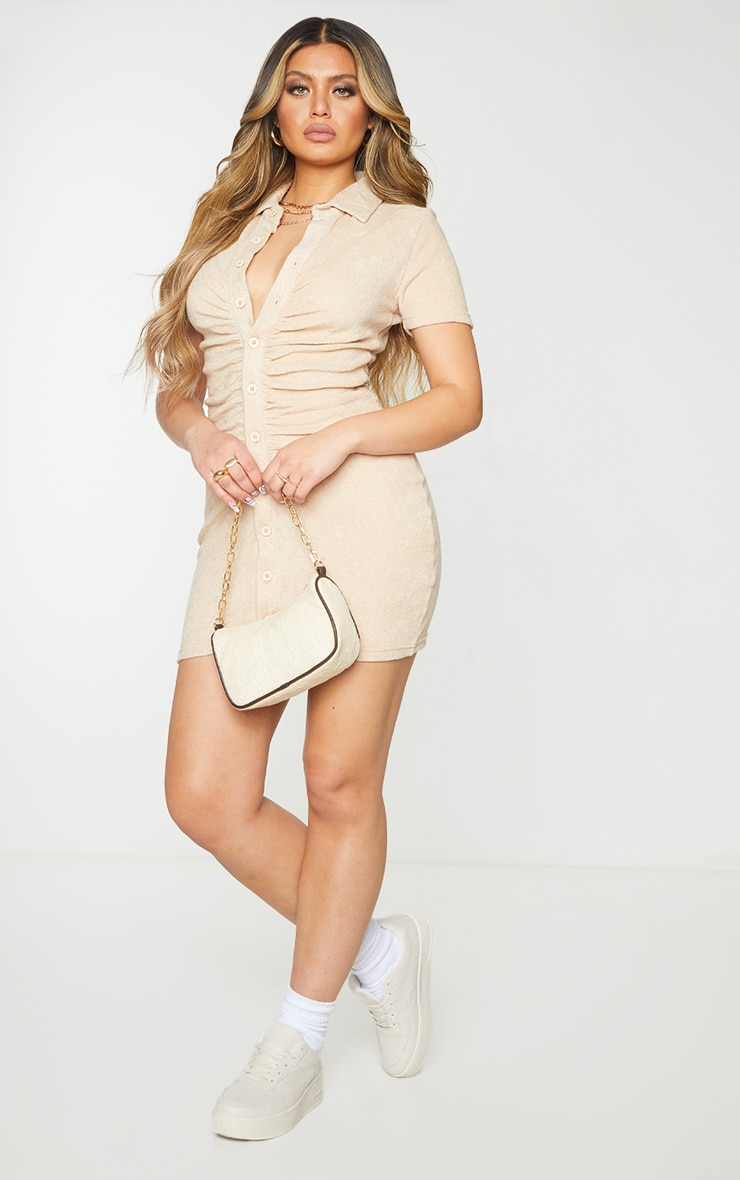 Stone Ruched Button Down Collar Detail Towelling Bodycon Dress 3