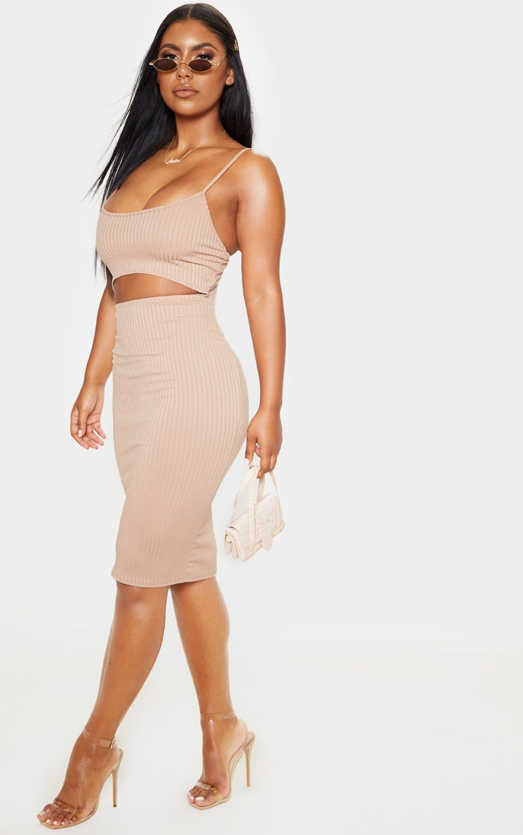 Stone Ribbed Cut Out Strappy Midi Dress 1