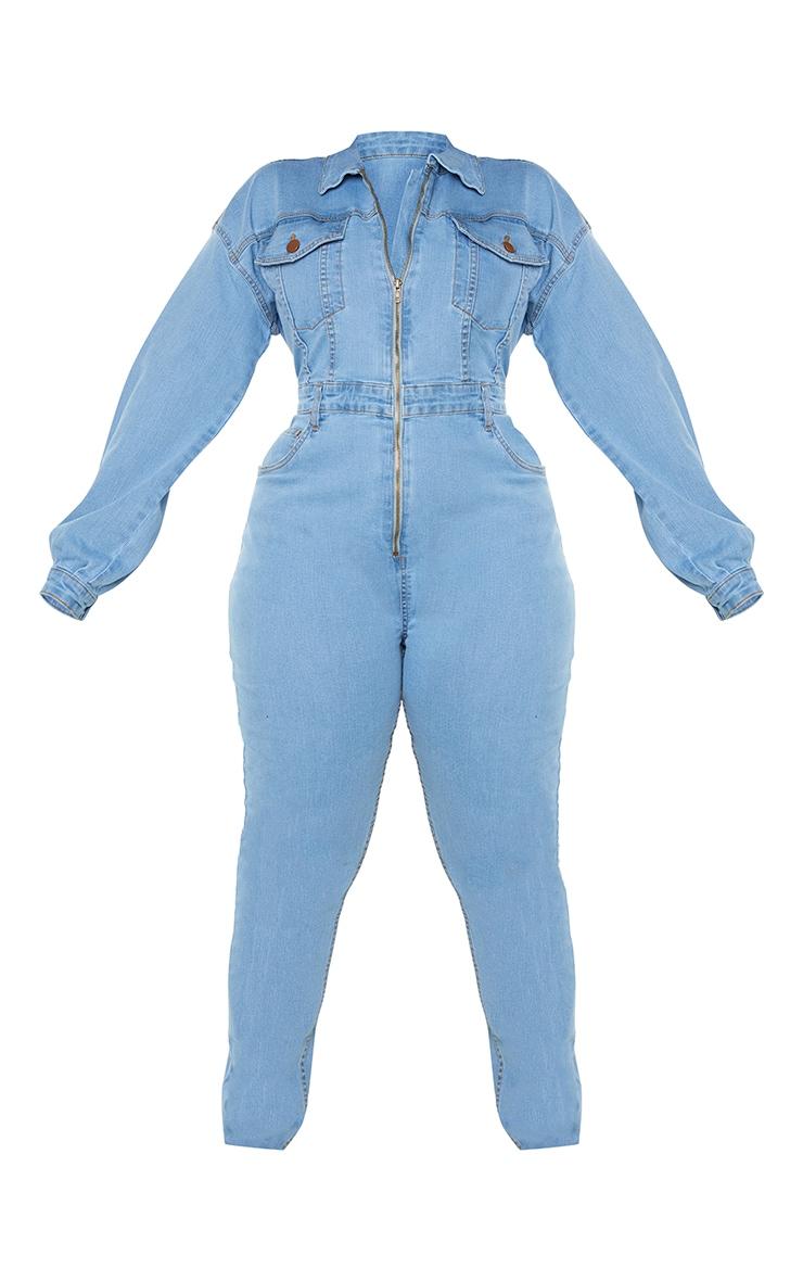 Plus Light Blue Denim Zip Front Jumpsuit 5