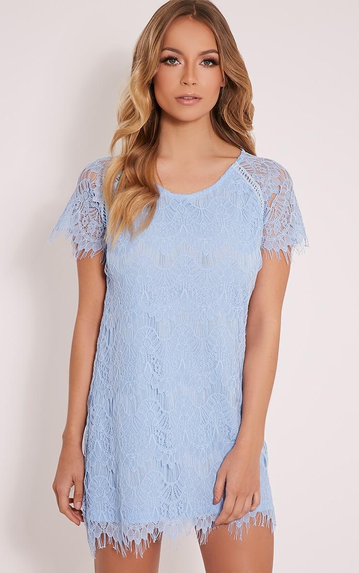 Adara Blue Lace Shift Dress 1