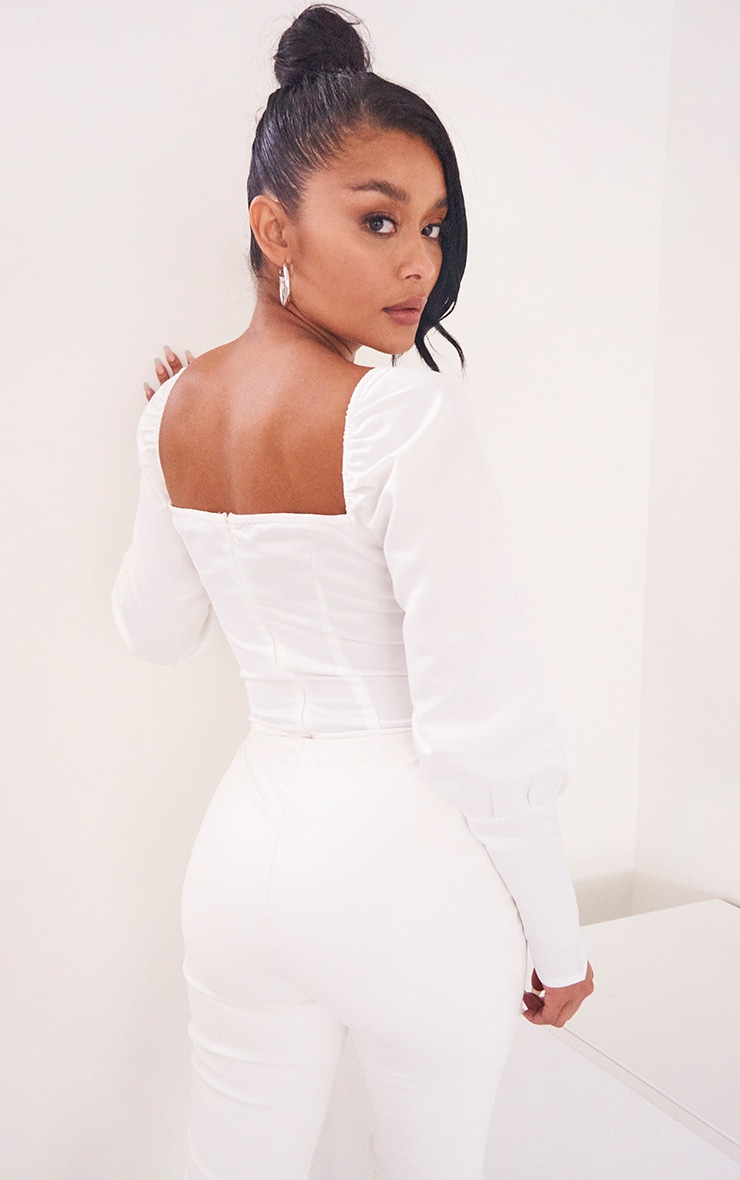 White Satin Structured Bodice Puff Sleeve Bodysuit 4
