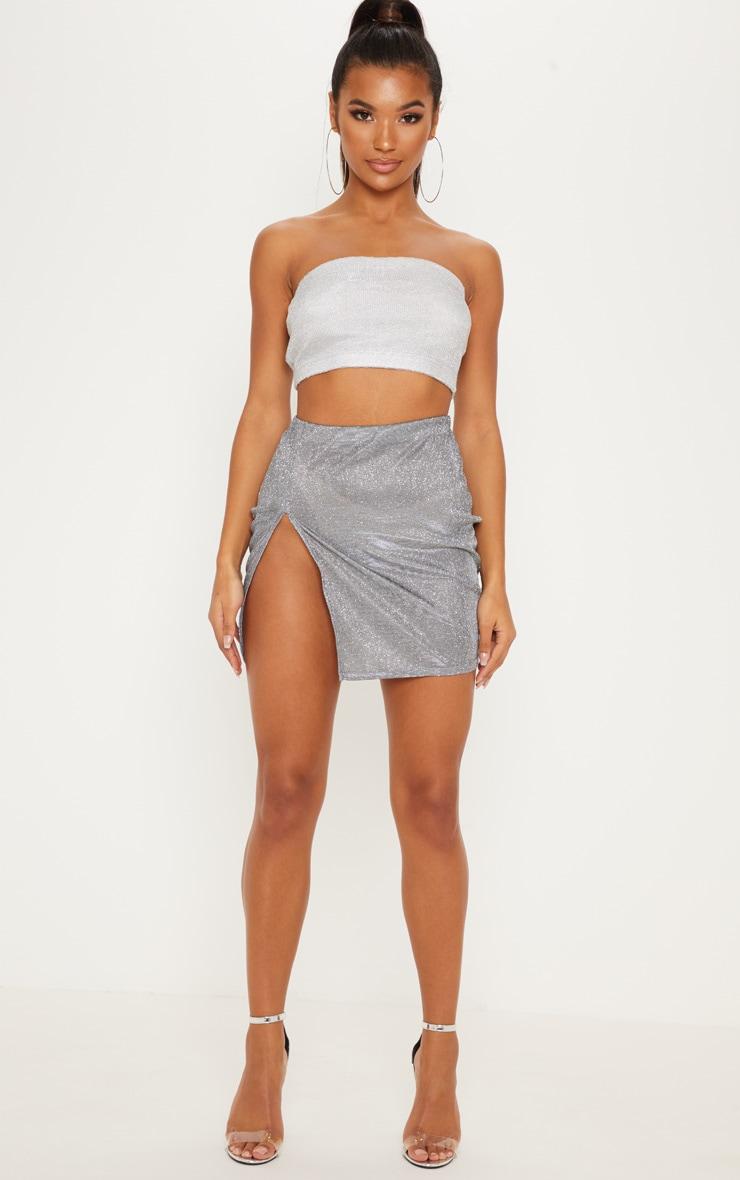 Silver Textured Glitter Extreme Split Mini Skirt 5