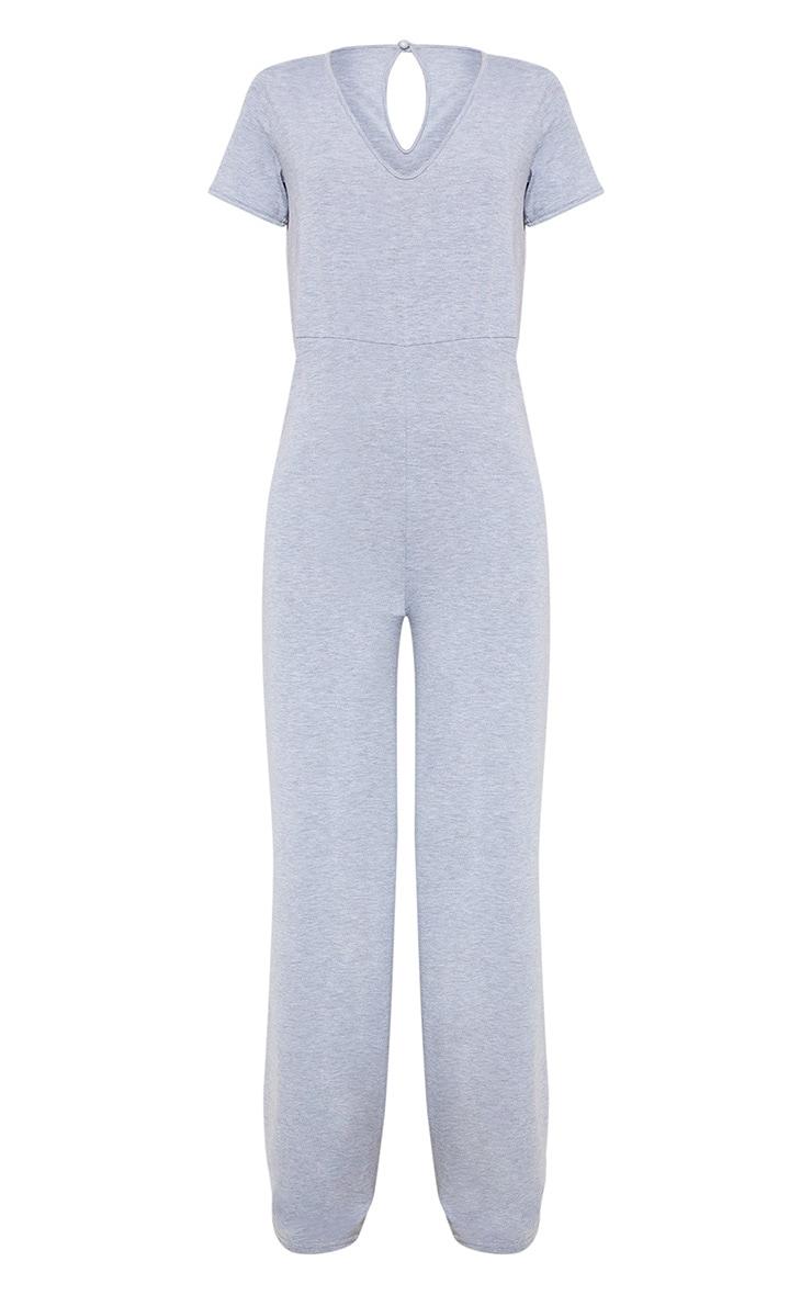 Grey Jersey Wide Leg Jumpsuit 3