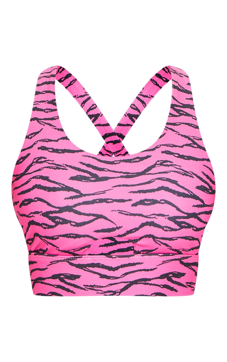 Pink Zebra Cut Out Front Gym Bralet 5