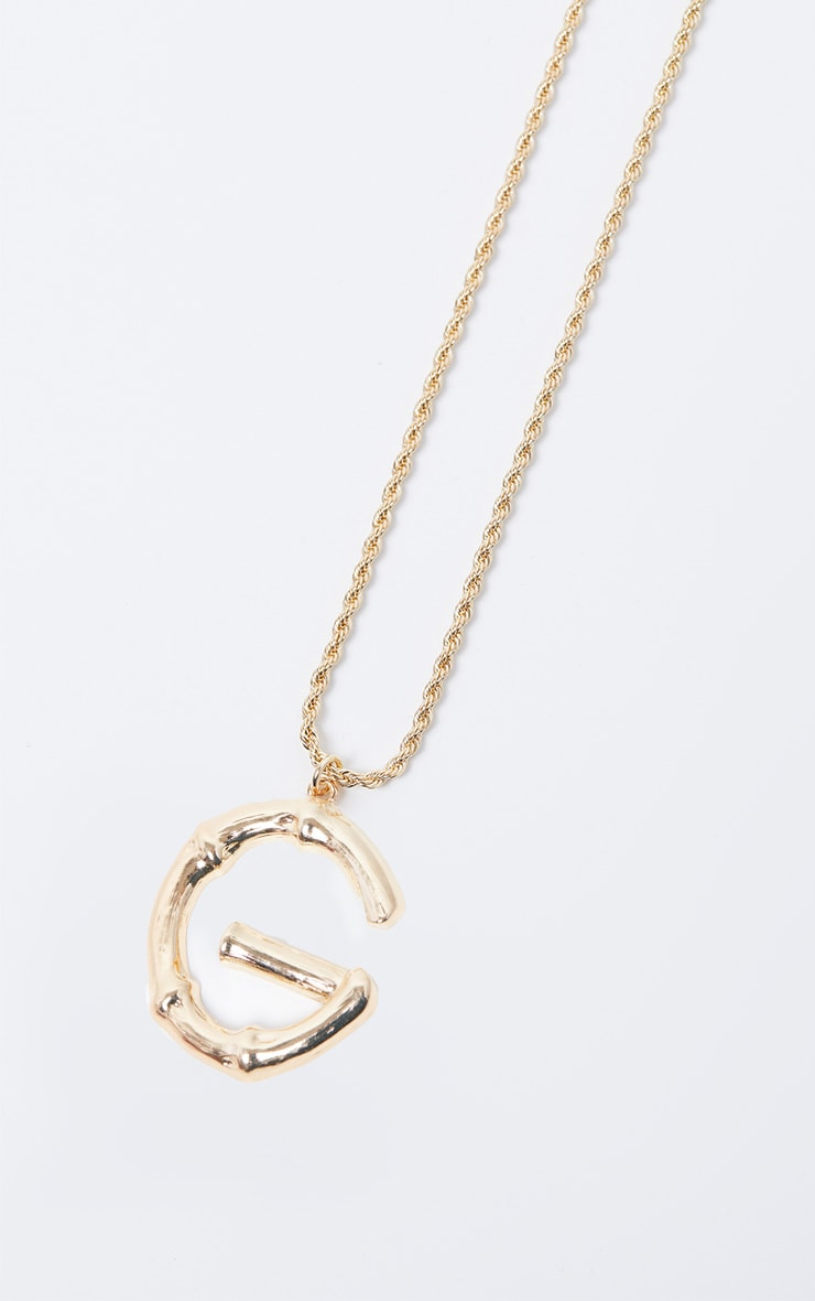 Gold G Bamboo Letter Necklace 3