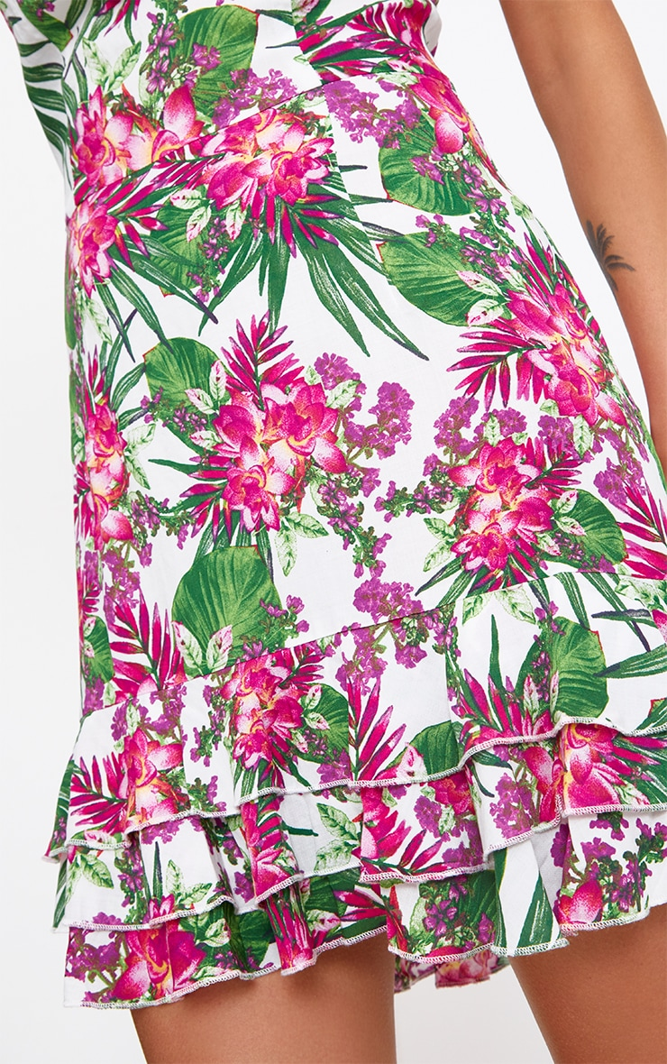 Pink Tropical Floral Strappy Shift Dress 5