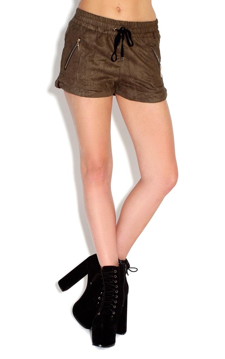 Allison Khaki PU Boxer Style Shorts 3