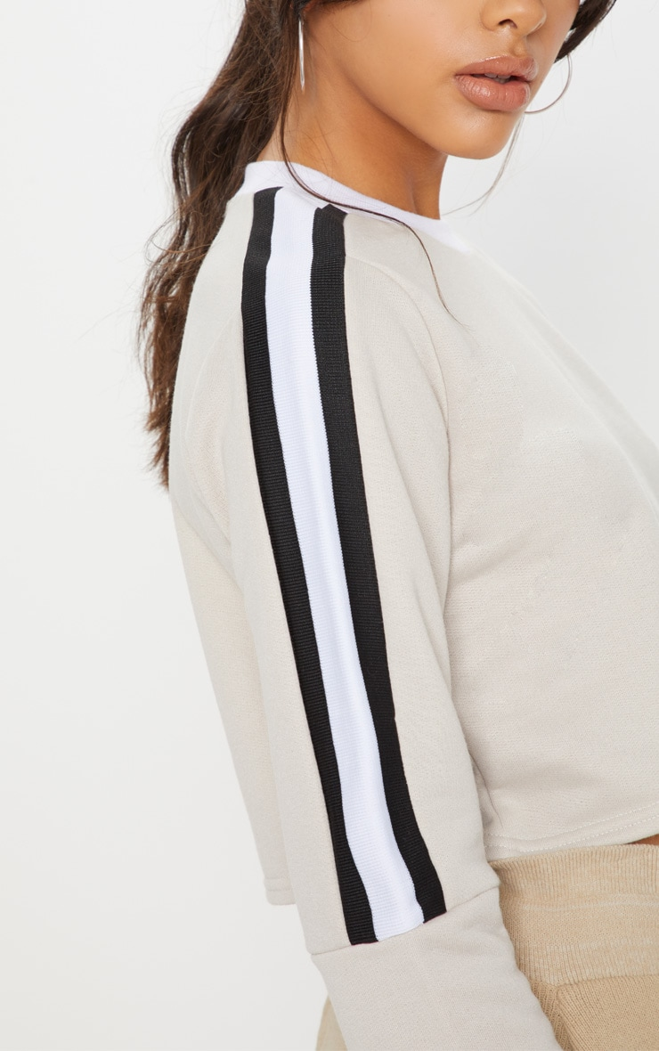 Sand Triple Shoulder Stripe Crop Sweater  5