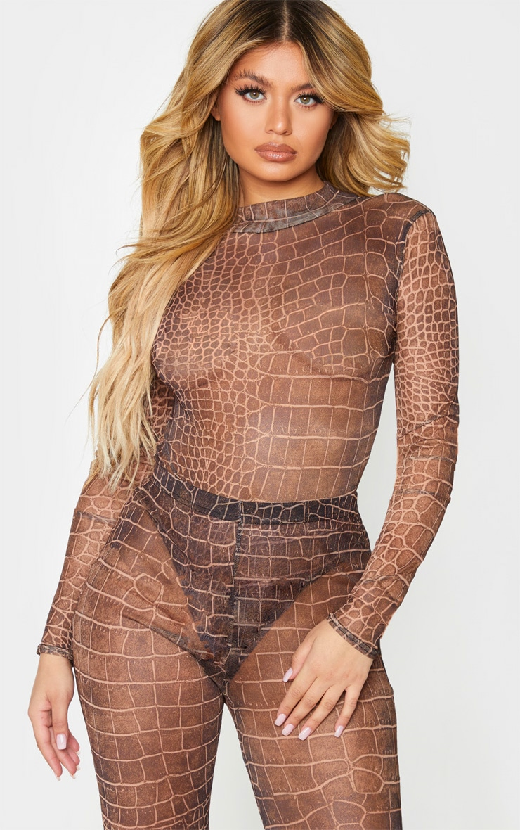 Brown Croc Print Mesh High Neck Long Sleeve Bodysuit 1