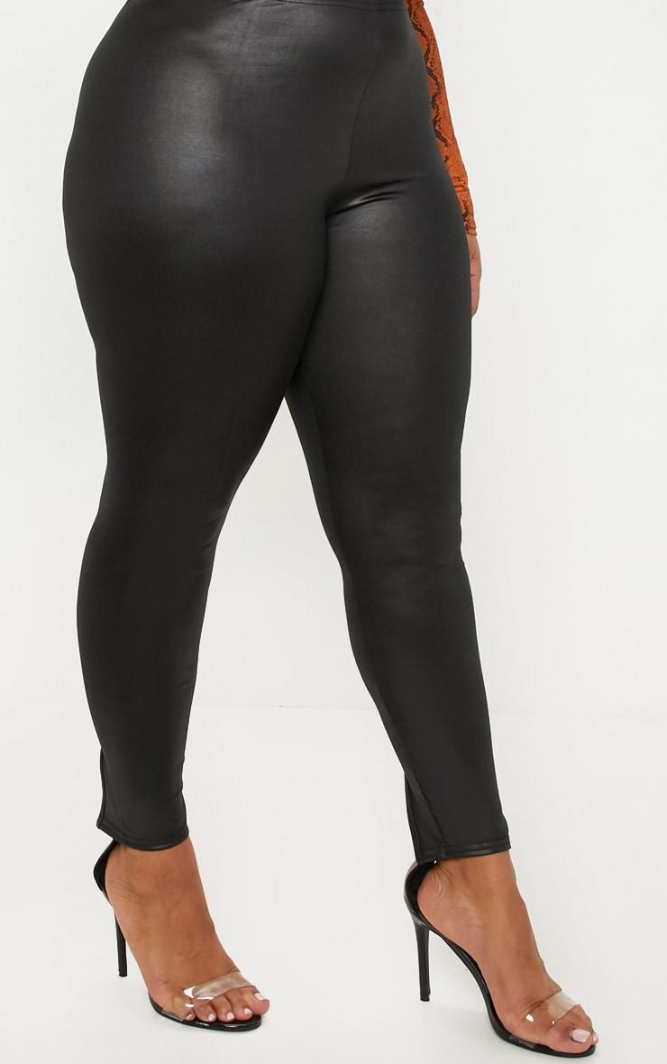 Plus Black PU Detail Legging 5
