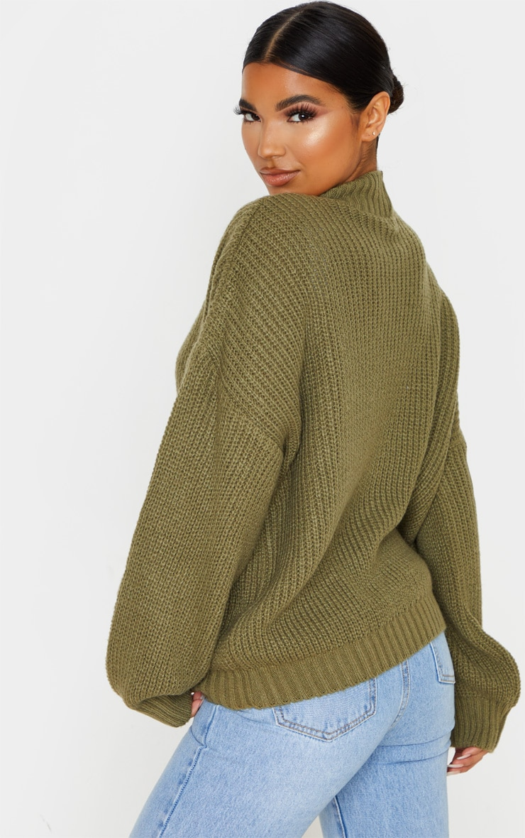 Khaki Balloon Sleeve Fluffy Sweater 2