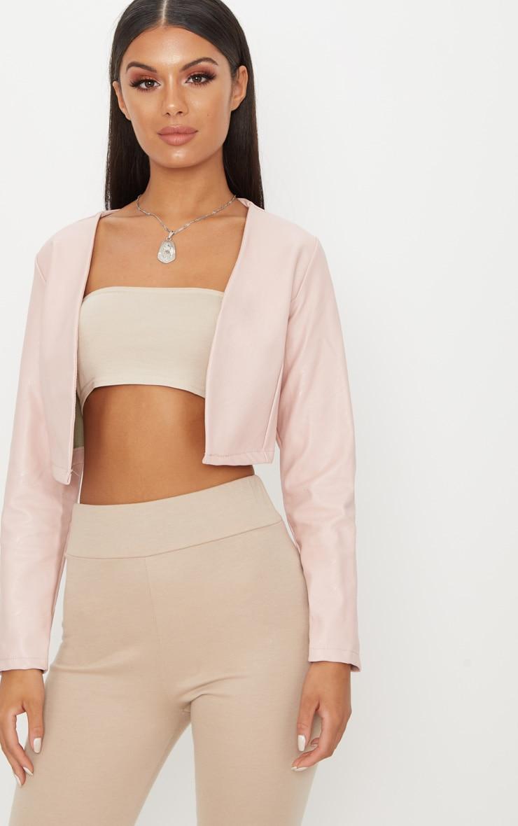 Pale Pink PU Cropped Blazer 1
