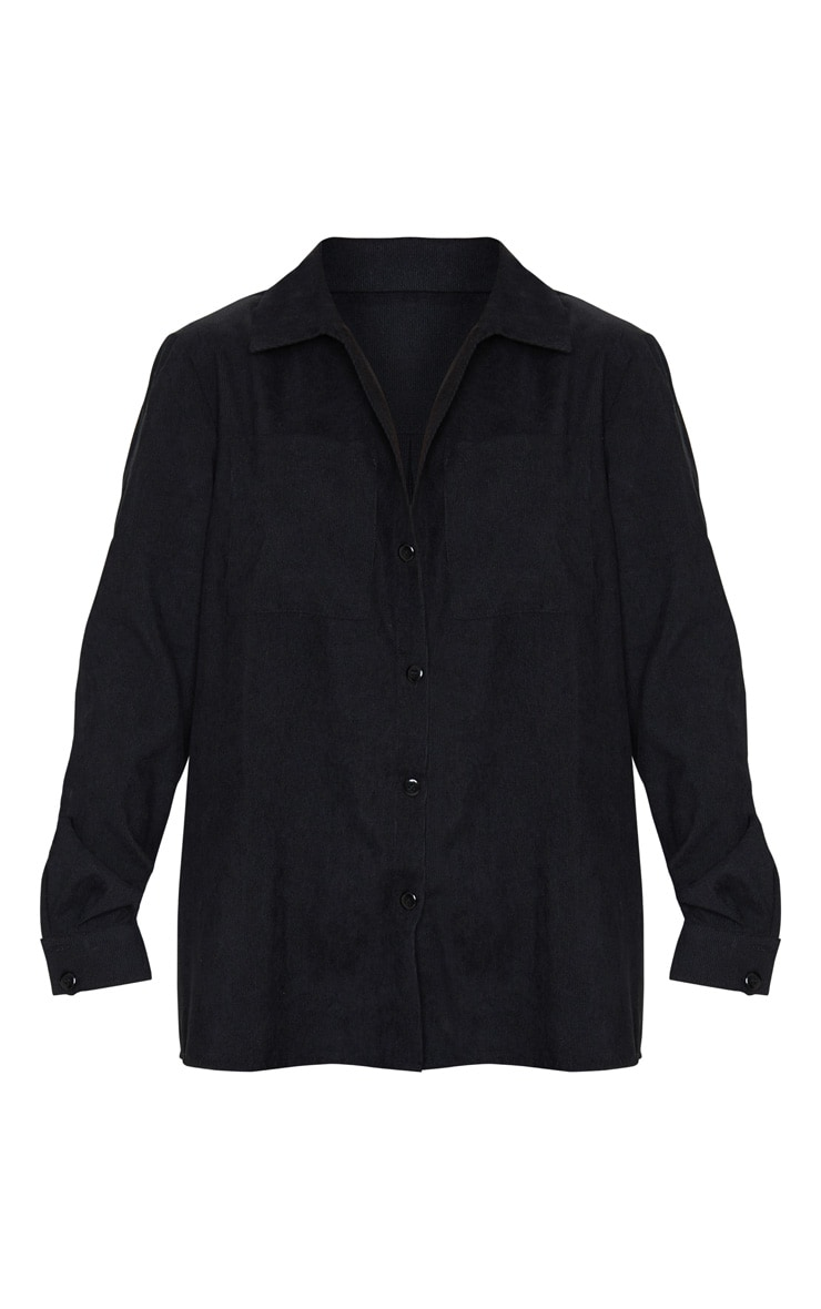 Black Cord Button Front Oversized Shirt 5